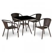 Комплект мебели ЛИНДА 80х80 BL 4+1 искусственный ротанг T283ВNS/Y137С-4PCS-(W51)