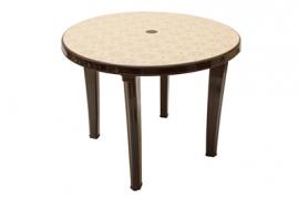 Стол круглый пластиковый с декором